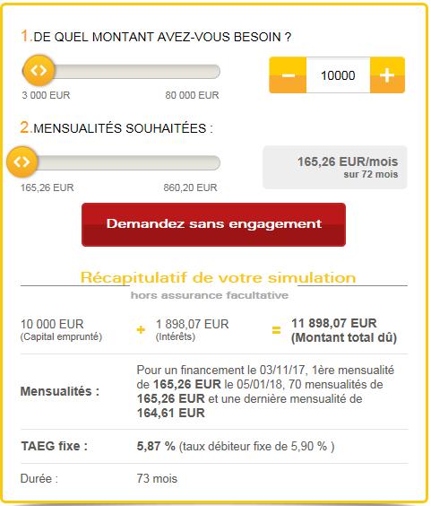 Simulation de rachat de crédit Cofidis