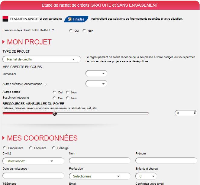 Simulation de rachat de crédit Franfinance